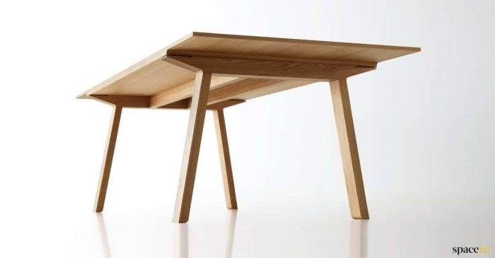 Light wood executive table closeup