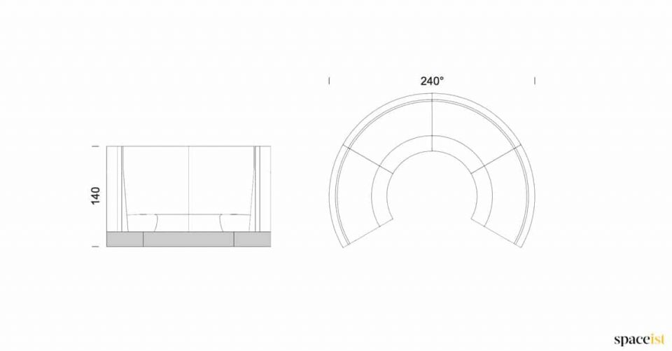 Banquette circular sizes