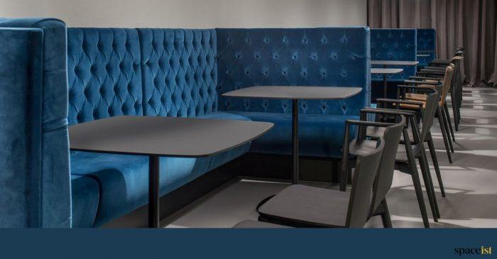 Blue velvet modern banquette booth