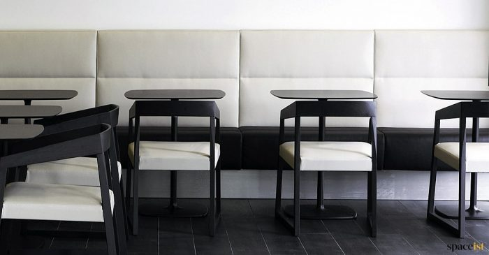 Cream + black banquette