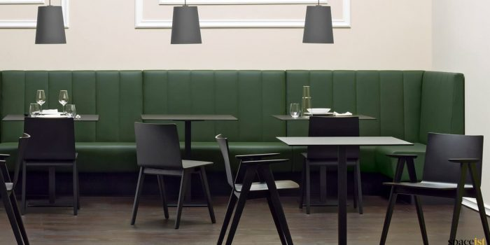 Modis dark green long banquette seating