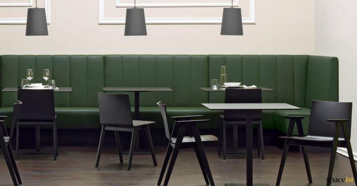 Modis dark green long banquette seating