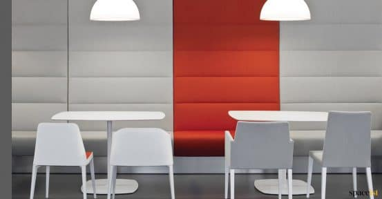 Orange + grey banquette seating