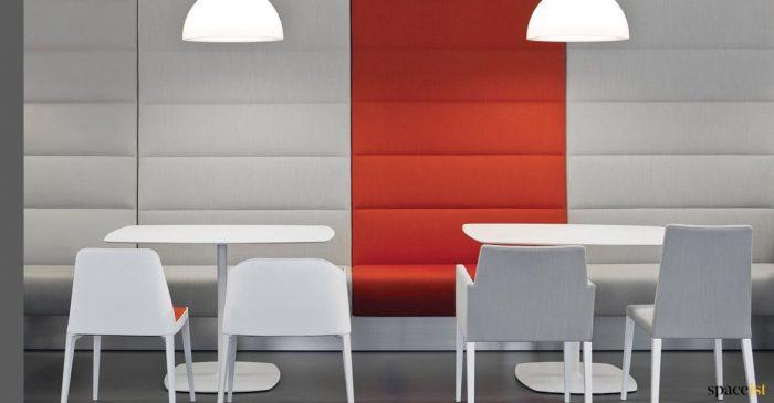 Orange + grey banquette seating