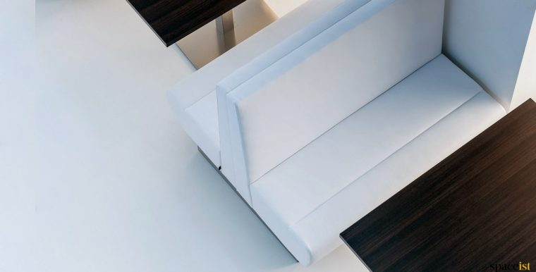 White double banquette seating