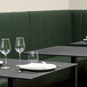 Green banquette bench