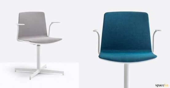 Grey + blue swivel chair