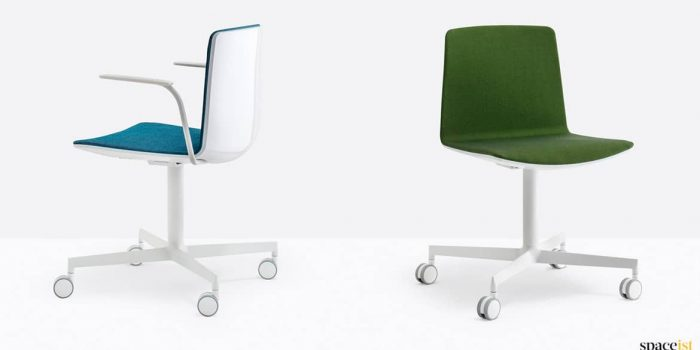 Blue + green desk chairs