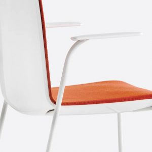 Orange chair with armrests