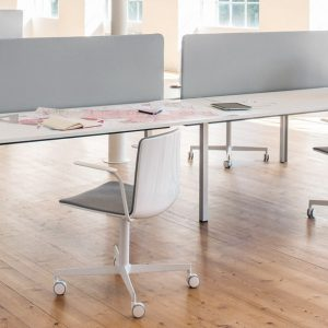 Noa white chair on castors with a grey seat