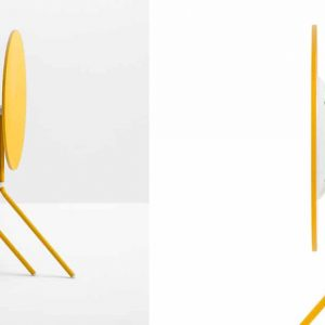 Yellow folding cafe table