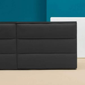 Black reception desk with fabric front