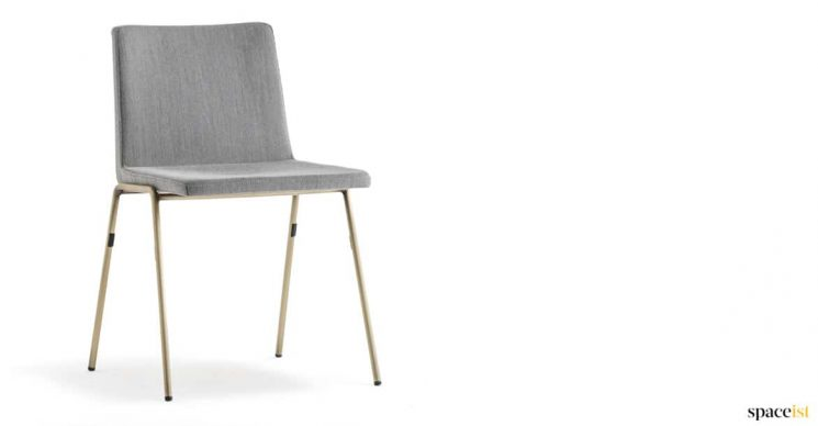 Brass meeting chair with grey seat