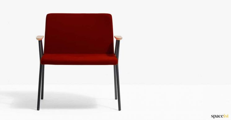 Red reception chair wood arm