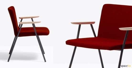 Red reception chair closeup