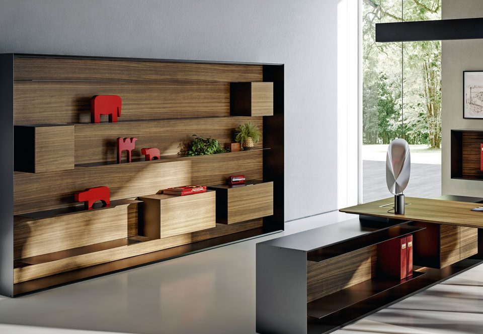 Walnut executive shelving