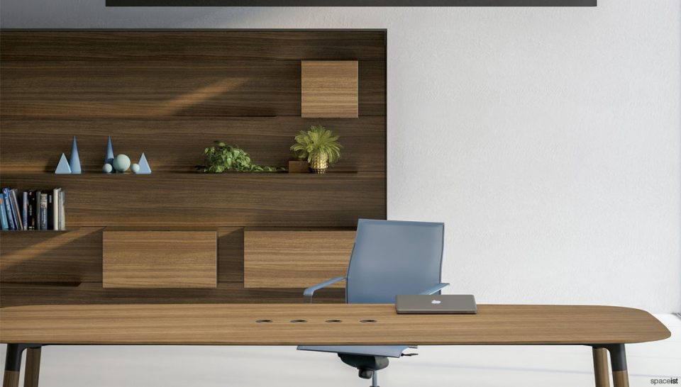 Walnut meeting shelving