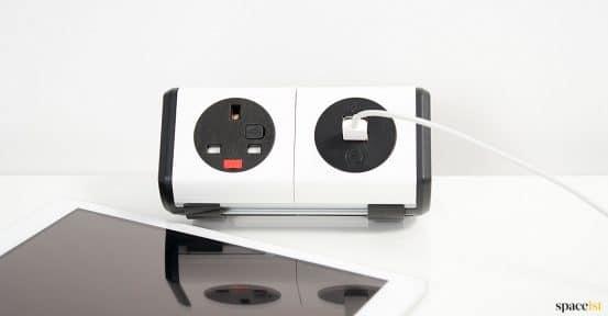 White + black desk socket