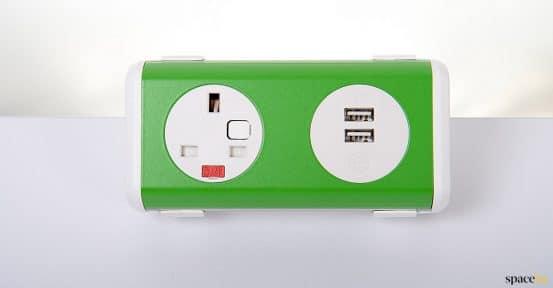 Green UK plug socket for office desk