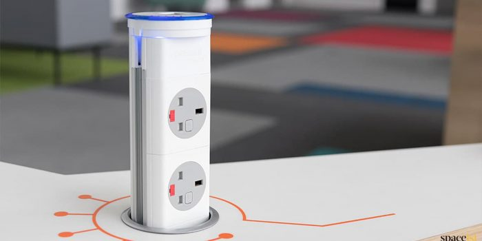 Pop-up UK plug socket for desk designer