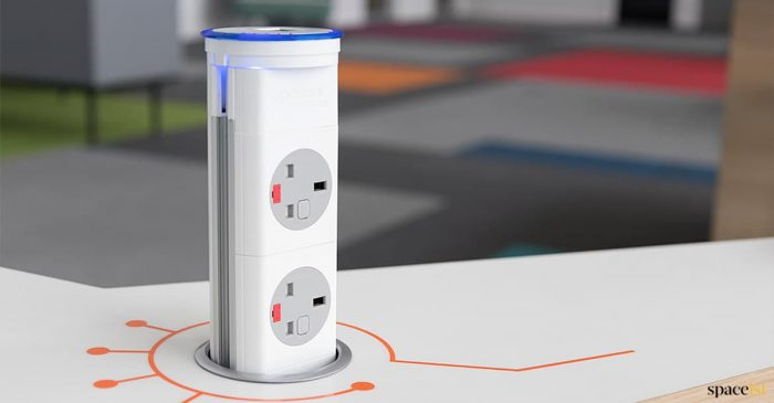 Pop-up UK plug socket for desk designer