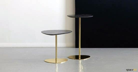 gold side tables with marble tops