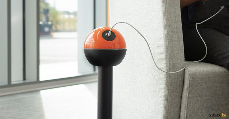 Orange + black freen standing charging point
