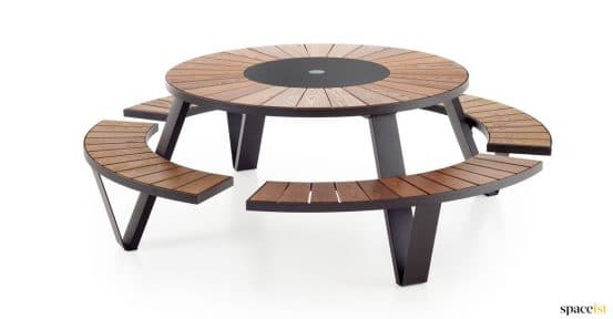 Black outdoor picnic table with wood top - Pentagale