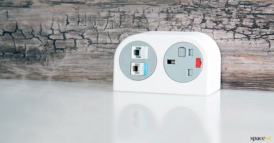 White compact USB charging point