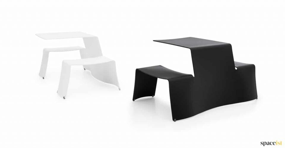 Black + white outdoor picnic table