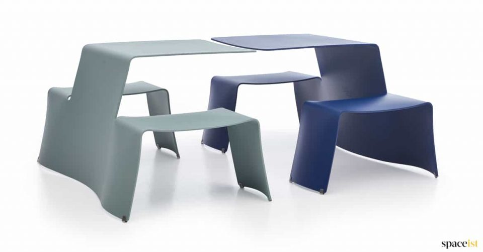 Four person metal picnic table