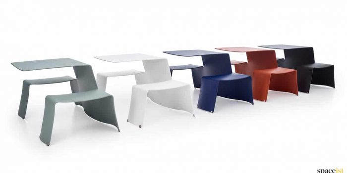 Picnic colourful outdoor metal tables
