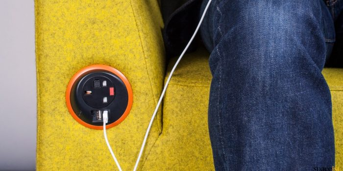 Plug socket in sofa arm