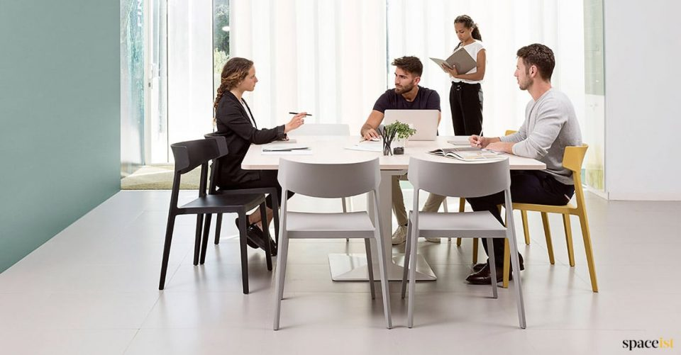 Square white modern meeting table