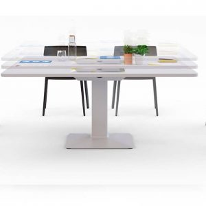 Height adjustable 8 person table
