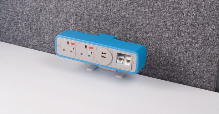 Blue plug socket for office
