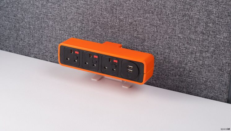 Orange + black office sockets