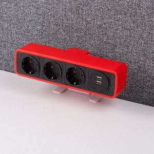 Red desk top plug + USB charger