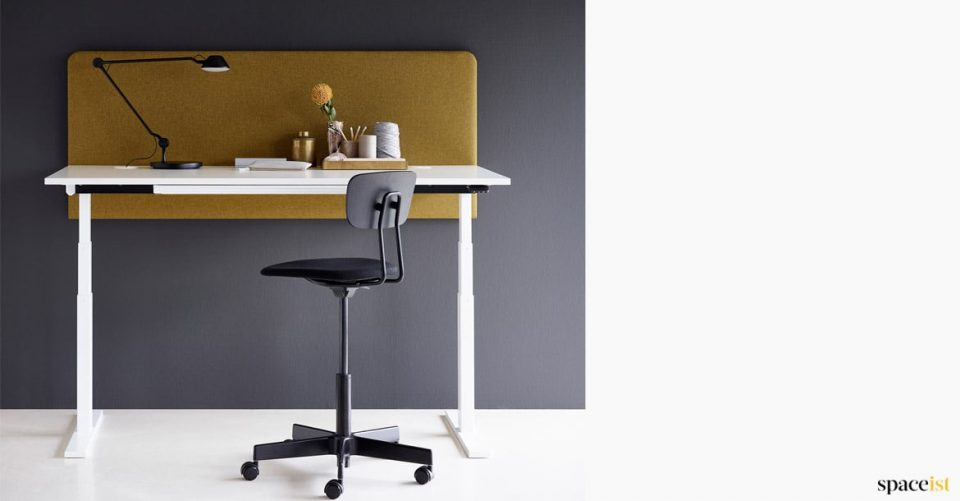 White Adjustable Desk with a Mustard Screen
