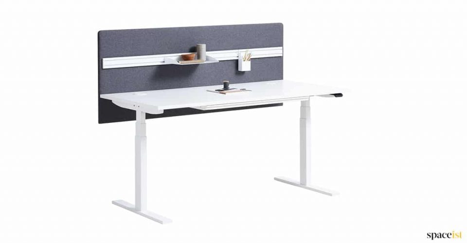 White Adjustable Desk with a Grey Screen