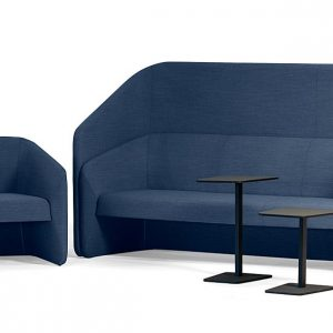 Race blue high back reception sofa for offices
