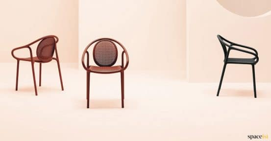 Red chair with mesh seat