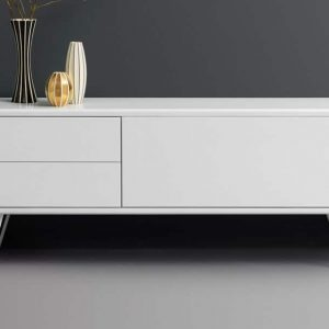 White meeting room cabinet on a V-shaped leg