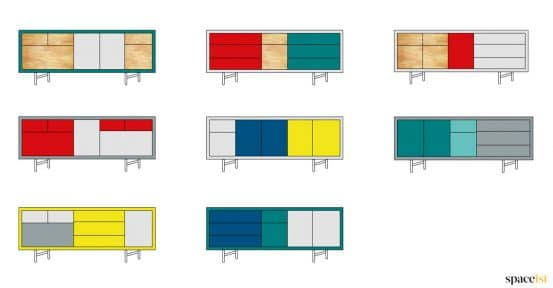 S36 multi coloured cabinet options