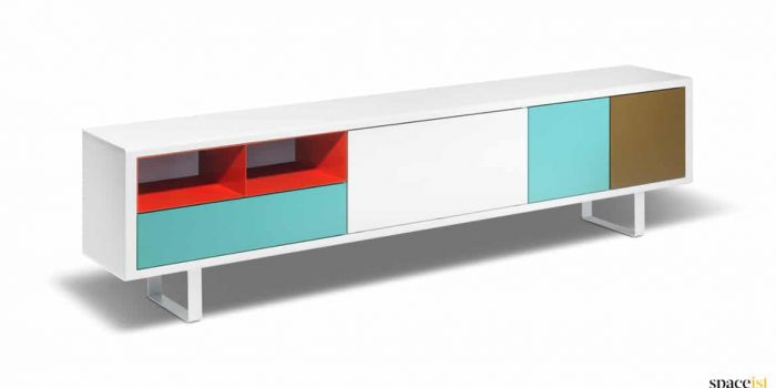 Multi coloured modular office storage