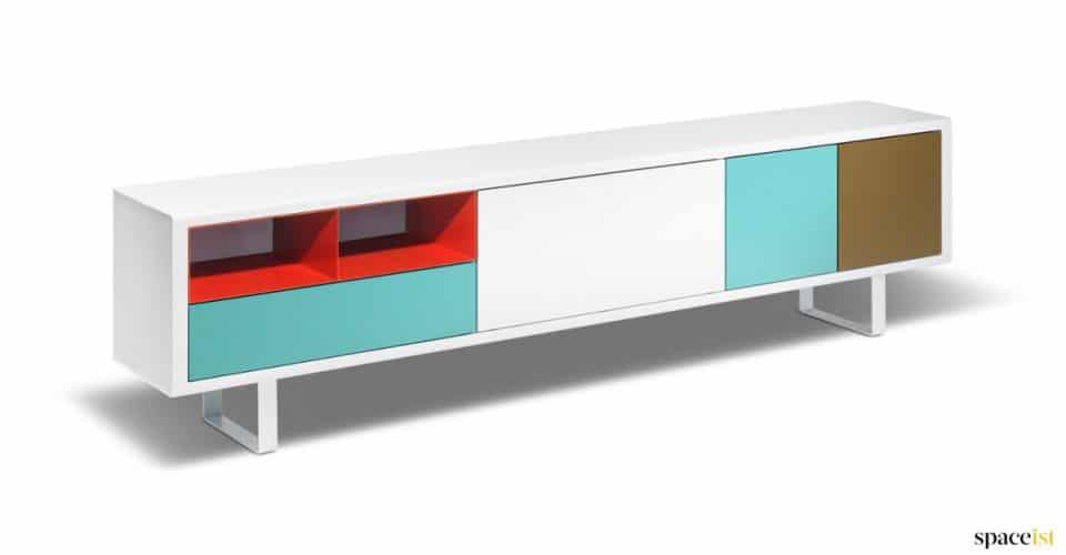Multi coloured modular office storage