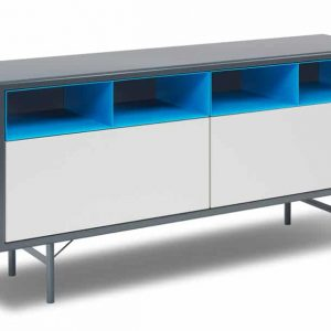 Blue + grey office meeting room cabinet