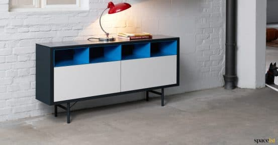 Blue + white office cabinet