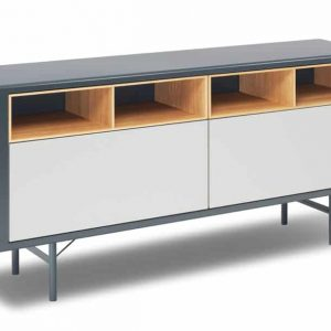 Grey + oak meeting room storage