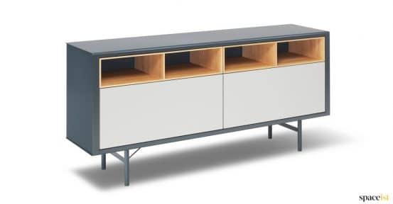 Grey + oak meeting room storage